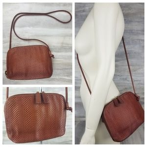 TALBOTS Small Brown Woven Leather Crossbody Purse